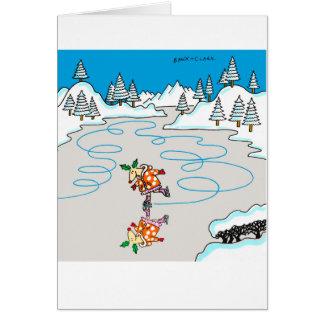 Cartão de patinagem do Xmas dos cervos do azevinho
