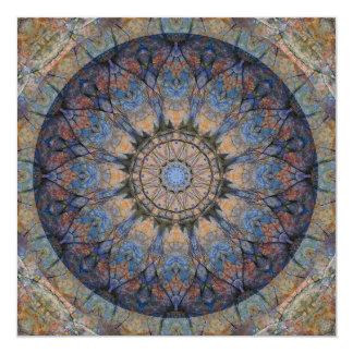 Cartão de pedra da arte da mandala do estrado convite quadrado 13.35 x 13.35cm