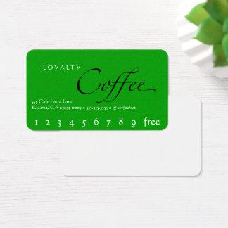 Cartão de perfuração verde do café da lealdade do