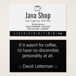 Cartão de perfurador da bebida da loja de Java