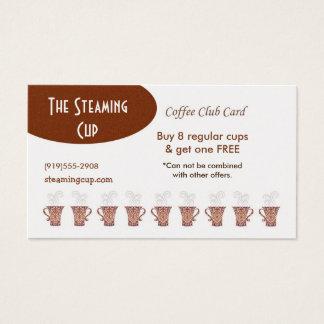 Cartão de perfurador da cafetaria