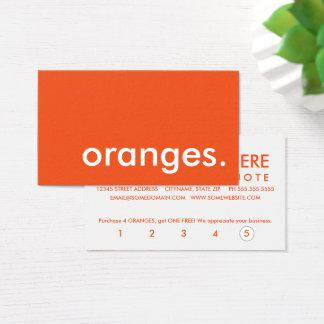 cartão de perfurador da lealdade das laranjas