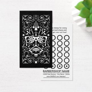 cartão de perfurador do crânio do punk do barbeiro