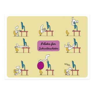 Cartão de Pilates do escritório, ALEMÃO amarelo Cartão Postal