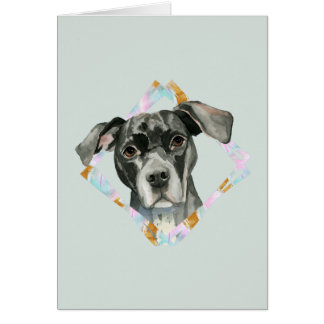 """Cartão De """"pintura da aguarela do cão do pitbull todas as"""