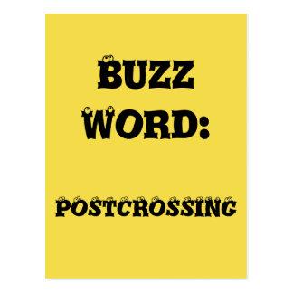 Cartão de Postcrossing da palavra de zumbido