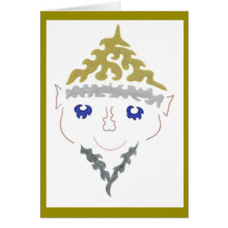 Cartão de prata do duende do Natal da barba