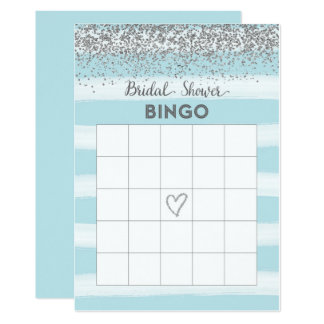 Cartão de prata e azul do Bingo do chá de panela