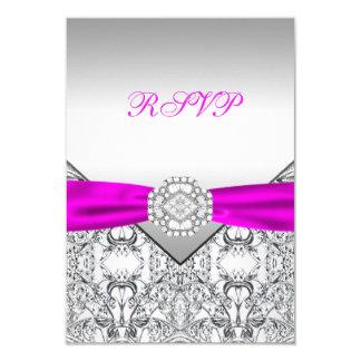 Cartão De prata elegante e fúcsia RSVP