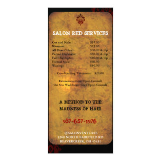 Cartão de preço moderno de gama alta elegante do 10.16 x 22.86cm panfleto