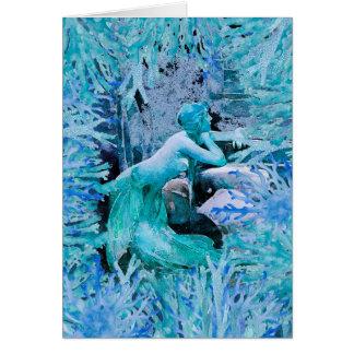Cartão de presente azul da fantasia da sereia por