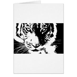 Cartão de presente com um tigre preto e branco do