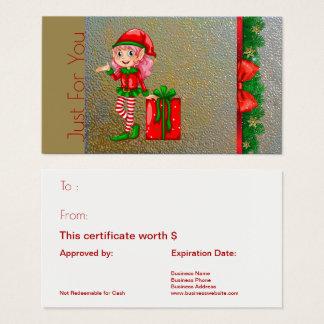 Cartão de presente de época natalícia do duende do