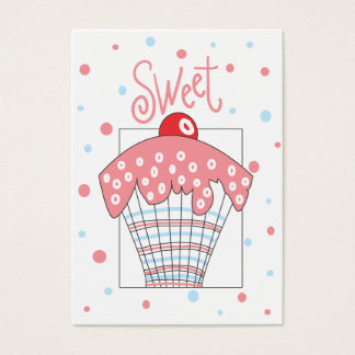Cartão de presente doce com cupcake e bolinhas