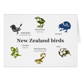Cartão de presente dos pássaros de Nova Zelândia