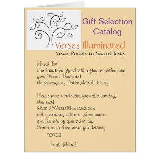 Cartão de presente iluminado versos do catálogo