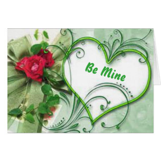 Cartão de presente verde elegante dos namorados do