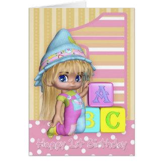 Cartão de primeiro aniversario com menina bonito e
