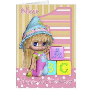 Cartão de primeiro aniversario da sobrinha com