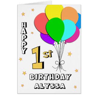 Cartão de primeiro aniversario enchido balão