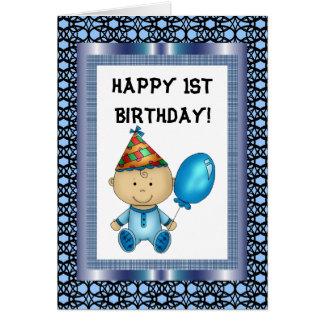 Cartão de primeiro aniversario feliz