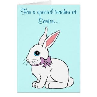 Cartão de professor do coelho de felz pascoa
