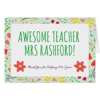 Cartão de professor impressionante personalizado