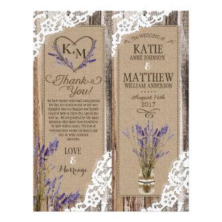 Cartão de programa floral do laço de madeira
