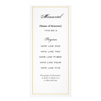 Cartão de programa simples, elegante da cerimonia