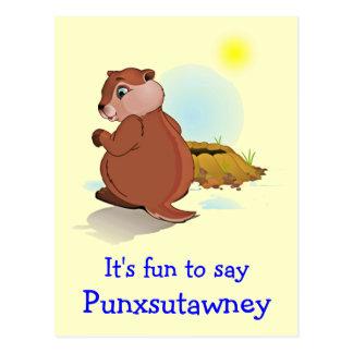 Cartão de Punxsutawney do dia de Groundhog