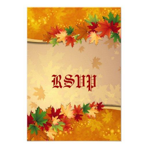 Cartão de queda das folhas de bordo RSVP Convite
