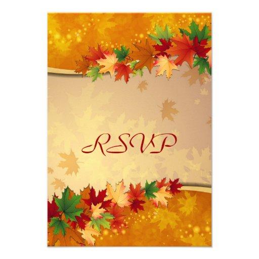 Cartão de queda das folhas de bordo RSVP Convites Personalizados