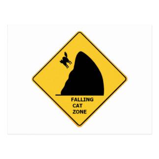 Cartão de queda engraçado do sinal da zona do gato