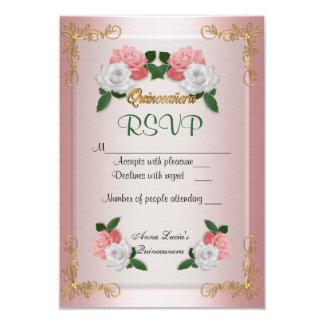 Cartão de Quinceanera RSVP Convite 8.89 X 12.7cm