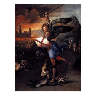 Cartão de Raphael de St Michael & de dragão