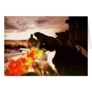 Cartão de respiração do gato do dragão do fogo