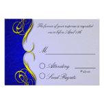 Cartão de resposta azul de um quarto do damasco convite