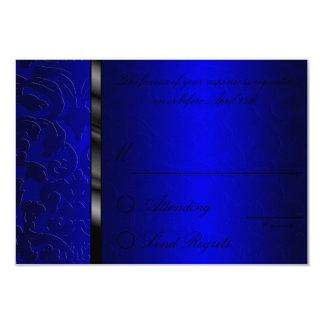 Cartão de resposta azul do damasco da folha convite 8.89 x 12.7cm