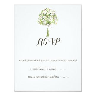Cartão de resposta branco do casamento do buquê da convite 10.79 x 13.97cm
