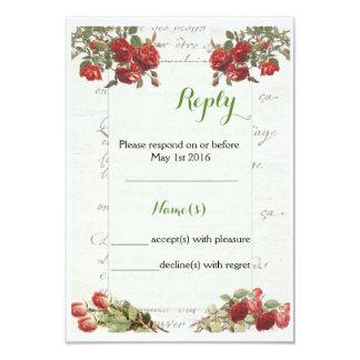 Cartão de resposta cor-de-rosa do casamento do convite 8.89 x 12.7cm