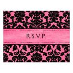 Cartão de resposta cor-de-rosa e preto do damasco convites