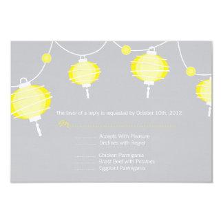 Cartão de resposta da lanterna de papel convite