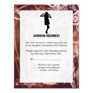 Cartão de resposta de Mitzvah do bastão do dance Convite 10.79 X 13.97cm
