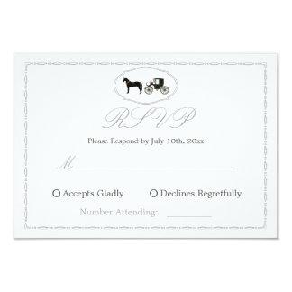 Cartão de resposta de RSVP com cavalo & carruagem Convite 8.89 X 12.7cm