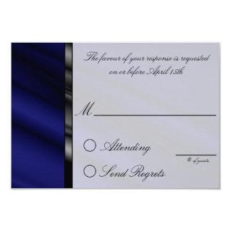 Cartão de resposta de seda azul convite 8.89 x 12.7cm