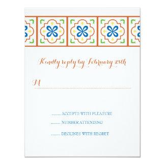 Cartão de resposta do azulejo do espanhol de convite 10.79 x 13.97cm