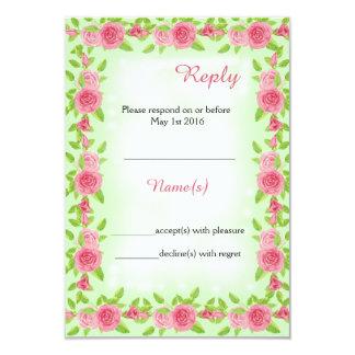 Cartão de resposta do casamento do rosa do rosa convite 8.89 x 12.7cm