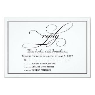 Cartão de resposta preto e branco do casamento do convite 8.89 x 12.7cm