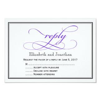 Cartão de resposta roxo e branco do casamento do convite 8.89 x 12.7cm