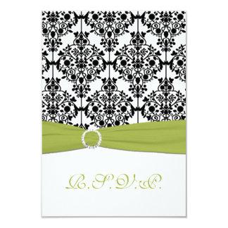 Cartão de resposta verde, branco e preto do convite 8.89 x 12.7cm